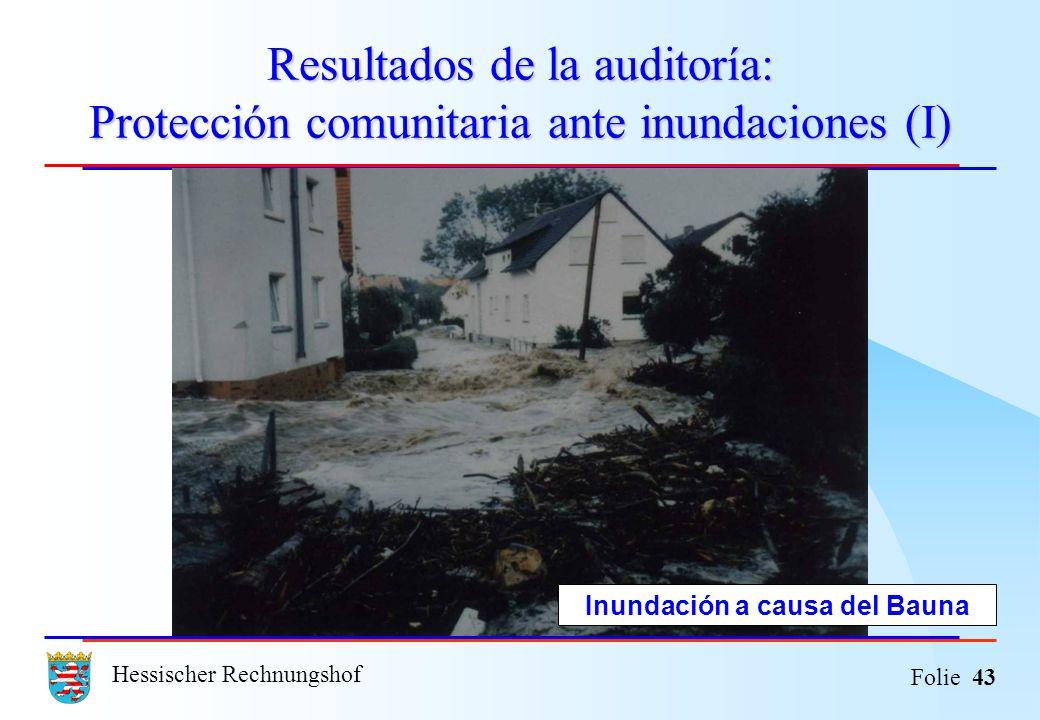Hessischer Rechnungshof Folie 43 Resultados de la auditoría: Protección comunitaria ante inundaciones (I) Inundación a causa del Bauna
