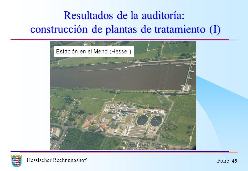 Hessischer Rechnungshof Folie 49 Resultados de la auditoría: construcción de plantas de tratamiento (I) Estación en el Meno (Hesse )