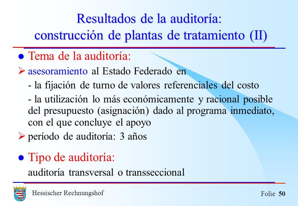 Hessischer Rechnungshof Folie 50 Resultados de la auditoría: construcción de plantas de tratamiento (II) Tema de la auditoría: asesoramiento al Estado