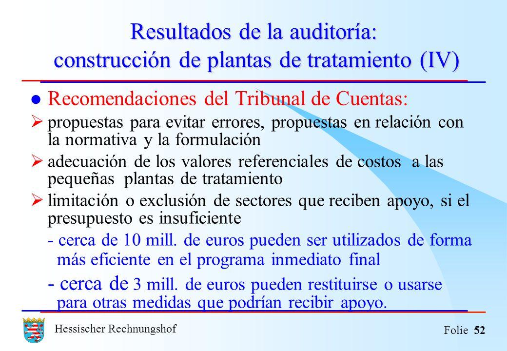 Hessischer Rechnungshof Folie 52 Resultados de la auditoría: construcción de plantas de tratamiento (IV) Recomendaciones del Tribunal de Cuentas: prop