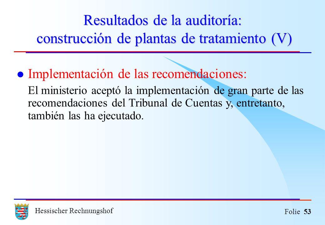 Hessischer Rechnungshof Folie 53 Resultados de la auditoría: construcción de plantas de tratamiento (V) Implementación de las recomendaciones: El mini