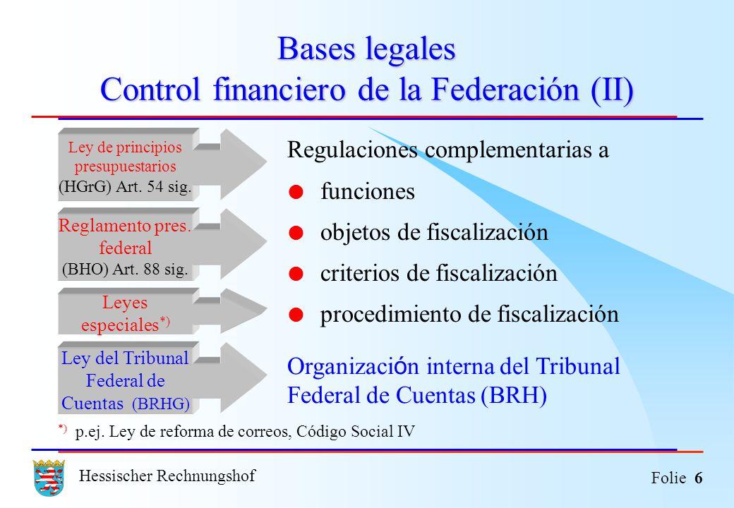 Hessischer Rechnungshof Folie 6 Bases legales Control financiero de la Federación (II) Regulaciones complementarias a funciones objetos de fiscalizaci