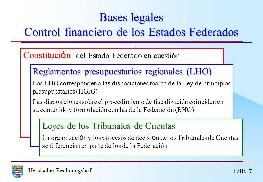 Hessischer Rechnungshof Folie 7 Bases legales Control financiero de los Estados Federados Constituci ó n Constituci ó n del Estado Federado en cuestió