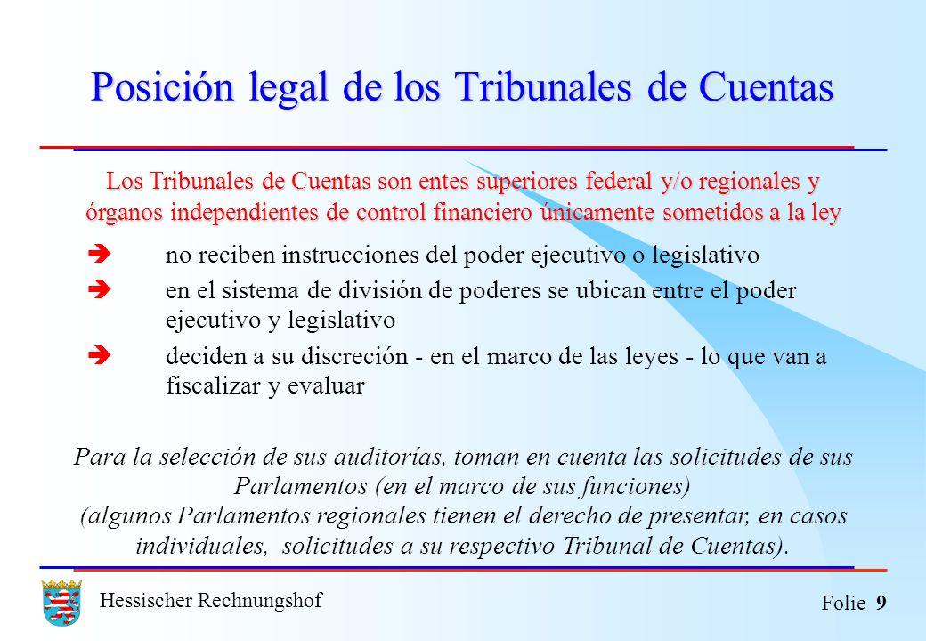 Hessischer Rechnungshof Folie 9 Posición legal de los Tribunales de Cuentas Los Tribunales de Cuentas son entes superiores federal y/o regionales y ór