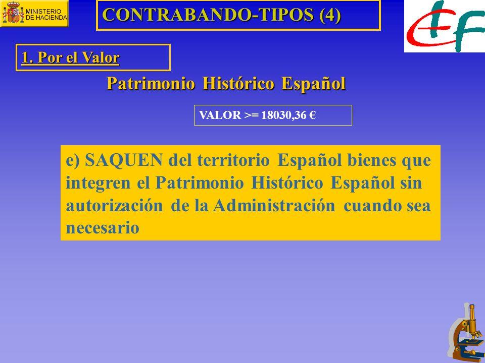 VALOR >= 18030,36 CONTRABANDO-TIPOS (4) 1. Por el Valor Patrimonio Histórico Español e) SAQUEN del territorio Español bienes que integren el Patrimoni