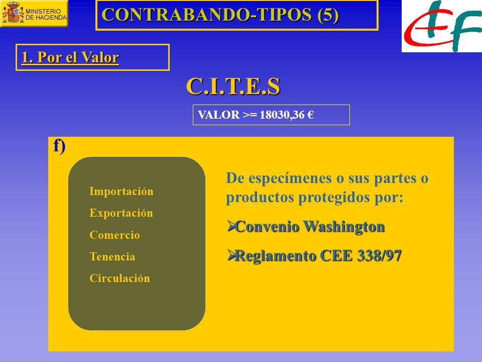 VALOR >= 18030,36 CONTRABANDO-TIPOS (5) 1. Por el Valor C.I.T.E.S f) Importación Exportación Comercio Tenencia Circulación De especímenes o sus partes