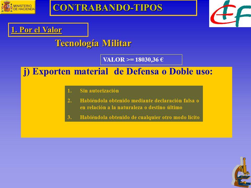 VALOR >= 18030,36 CONTRABANDO-TIPOS 1. Por el Valor Tecnología Militar j) Exporten material de Defensa o Doble uso: 1.Sin autorización 2.Habiéndola ob