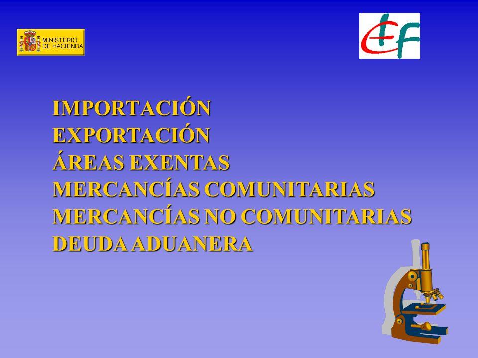 IMPORTACIÓN EXPORTACIÓN ÁREAS EXENTAS MERCANCÍAS COMUNITARIAS MERCANCÍAS NO COMUNITARIAS DEUDA ADUANERA