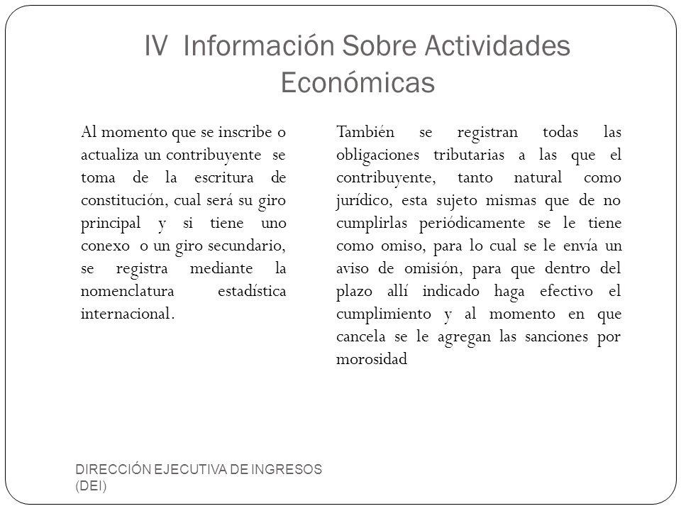 IV Información Sobre Actividades Económicas DIRECCIÓN EJECUTIVA DE INGRESOS (DEI) Al momento que se inscribe o actualiza un contribuyente se toma de l