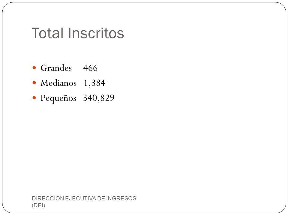 Total Inscritos Grandes 466 Medianos 1,384 Pequeños 340,829 DIRECCIÓN EJECUTIVA DE INGRESOS (DEI)