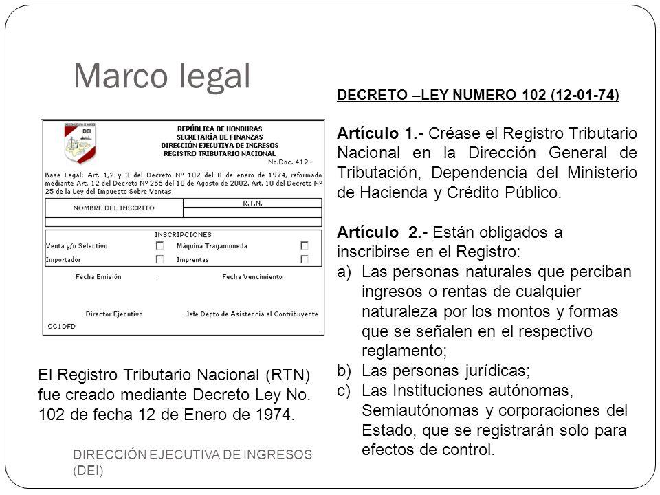 Marco legal DIRECCIÓN EJECUTIVA DE INGRESOS (DEI) DECRETO –LEY NUMERO 102 (12-01-74) Artículo 1.- Créase el Registro Tributario Nacional en la Direcci
