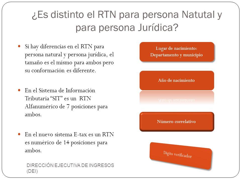 ¿Es distinto el RTN para persona Natutal y para persona Jurídica? DIRECCIÓN EJECUTIVA DE INGRESOS (DEI) Si hay diferencias en el RTN para persona natu