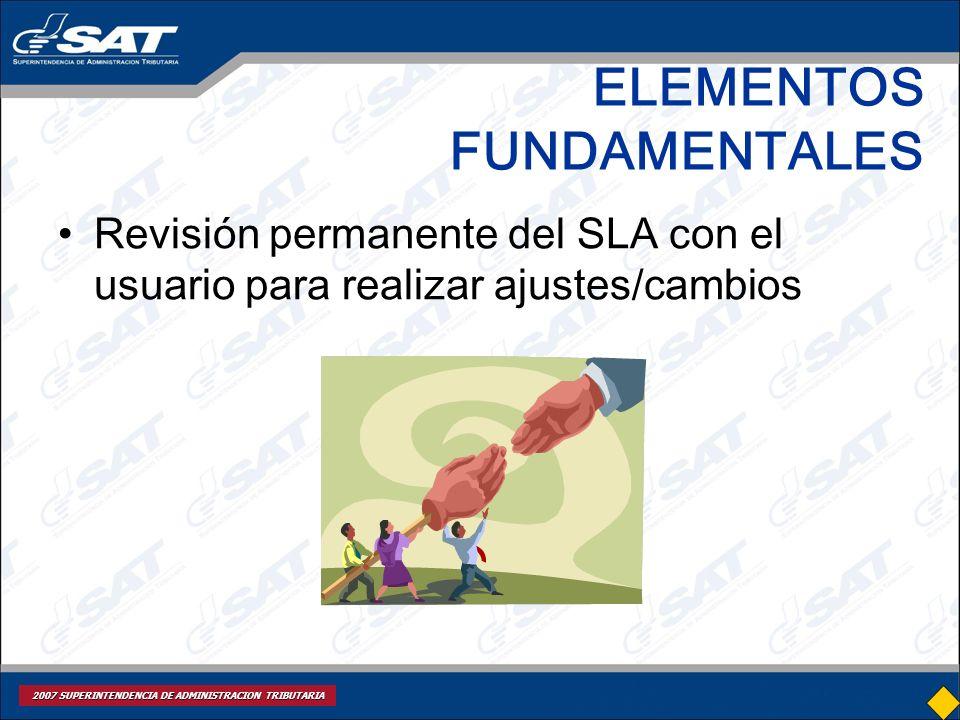 2007 SUPERINTENDENCIA DE ADMINISTRACION TRIBUTARIA ELEMENTOS FUNDAMENTALES Revisión permanente del SLA con el usuario para realizar ajustes/cambios