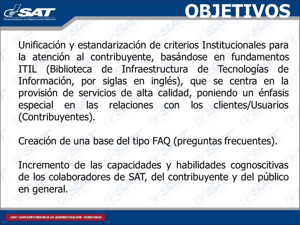 2007 SUPERINTENDENCIA DE ADMINISTRACION TRIBUTARIA OBJETIVOS Unificación y estandarización de criterios Institucionales para la atención al contribuye