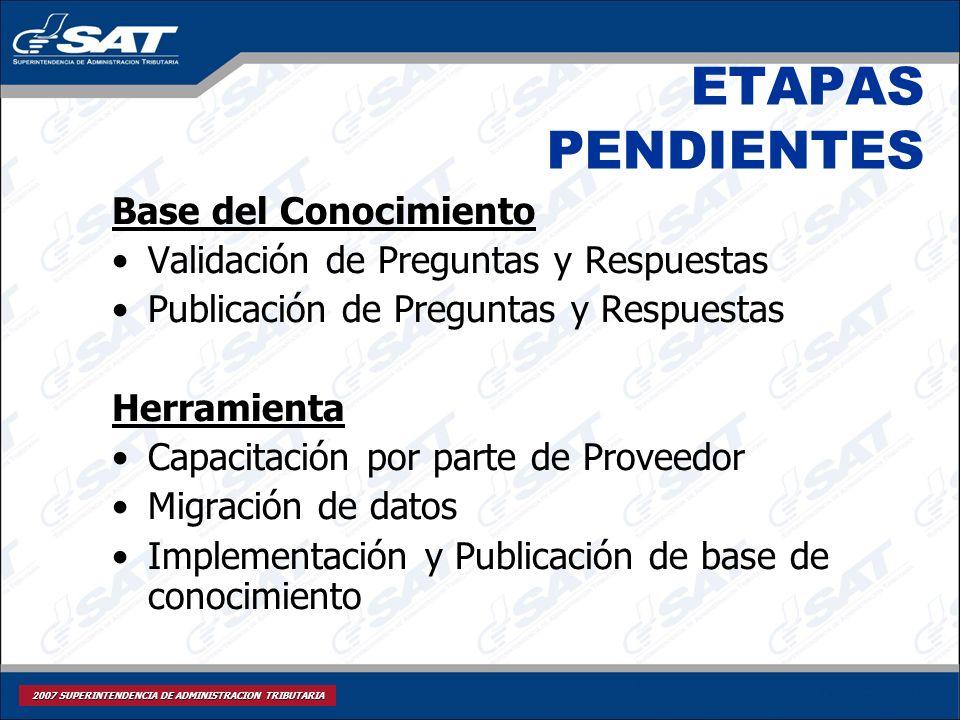 2007 SUPERINTENDENCIA DE ADMINISTRACION TRIBUTARIA ETAPAS PENDIENTES Base del Conocimiento Validación de Preguntas y Respuestas Publicación de Pregunt