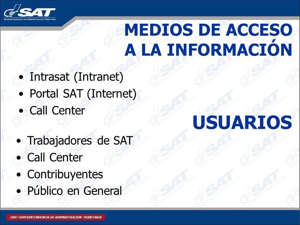 2007 SUPERINTENDENCIA DE ADMINISTRACION TRIBUTARIA MEDIOS DE ACCESO A LA INFORMACIÓN Intrasat (Intranet) Portal SAT (Internet) Call Center USUARIOS Tr