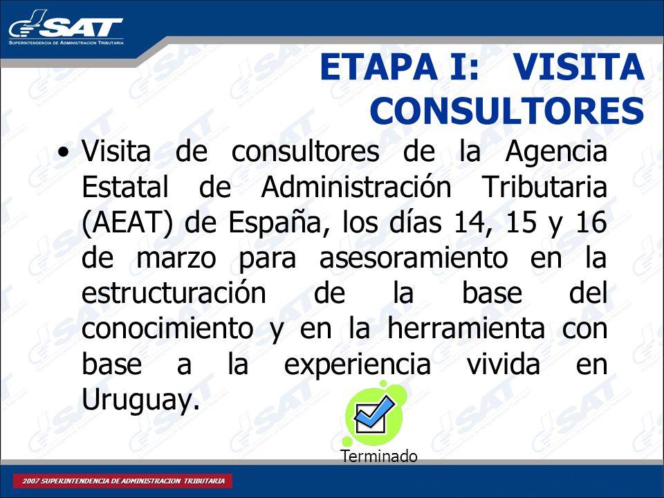 2007 SUPERINTENDENCIA DE ADMINISTRACION TRIBUTARIA ETAPA I: VISITA CONSULTORES Visita de consultores de la Agencia Estatal de Administración Tributari