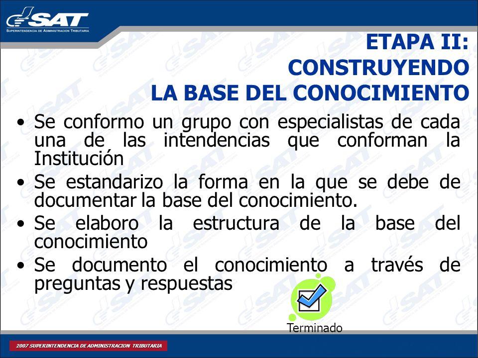 2007 SUPERINTENDENCIA DE ADMINISTRACION TRIBUTARIA ETAPA II: CONSTRUYENDO LA BASE DEL CONOCIMIENTO Se conformo un grupo con especialistas de cada una