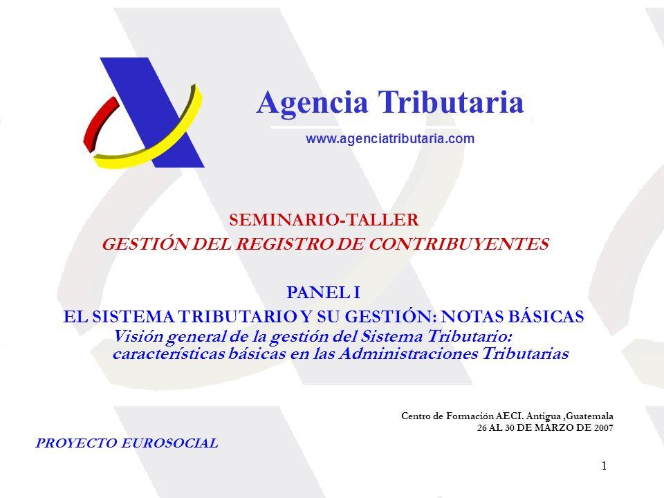 1 Agencia Tributaria www.agenciatributaria.com SEMINARIO-TALLER GESTIÓN DEL REGISTRO DE CONTRIBUYENTES PANEL I EL SISTEMA TRIBUTARIO Y SU GESTIÓN: NOT