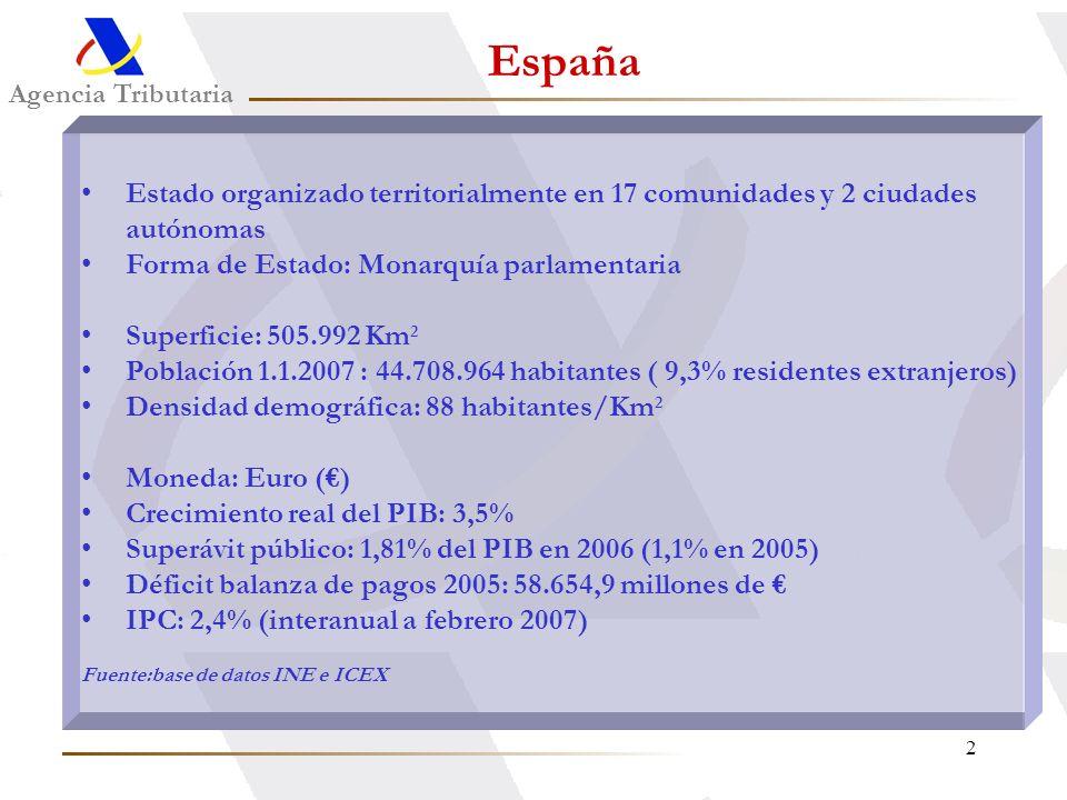 2 Agencia Tributaria España Estado organizado territorialmente en 17 comunidades y 2 ciudades autónomas Forma de Estado: Monarquía parlamentaria Super
