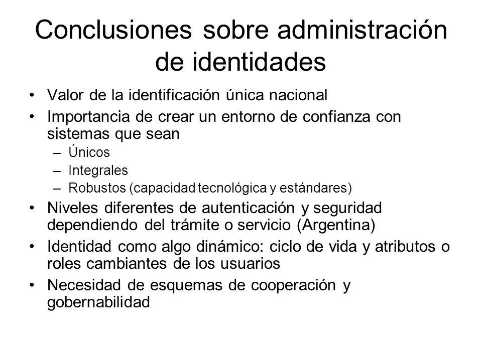 Conclusiones sobre administración de identidades Valor de la identificación única nacional Importancia de crear un entorno de confianza con sistemas q