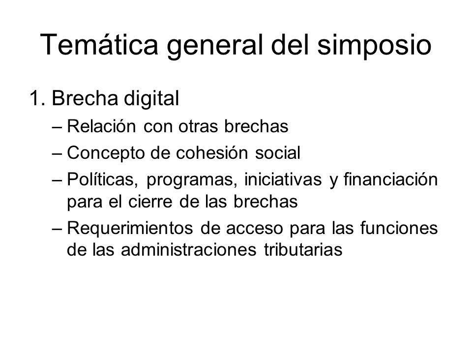 Temática general del simposio 1. Brecha digital –Relación con otras brechas –Concepto de cohesión social –Políticas, programas, iniciativas y financia