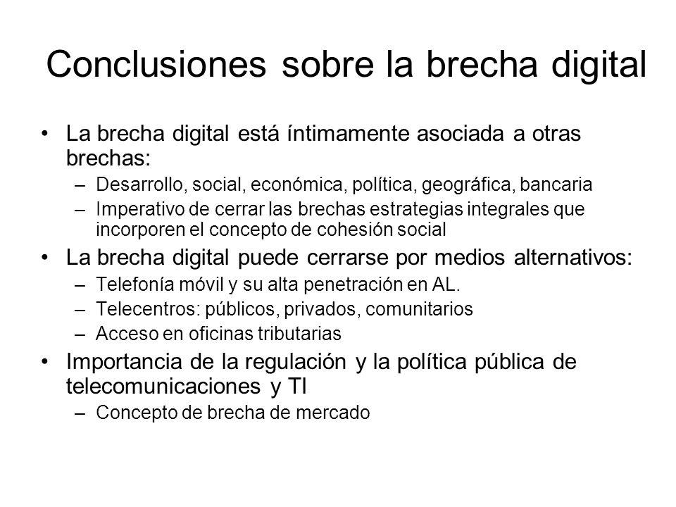 Conclusiones sobre la brecha digital La brecha digital está íntimamente asociada a otras brechas: –Desarrollo, social, económica, política, geográfica