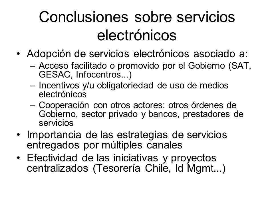 Conclusiones sobre servicios electrónicos Adopción de servicios electrónicos asociado a: –Acceso facilitado o promovido por el Gobierno (SAT, GESAC, I