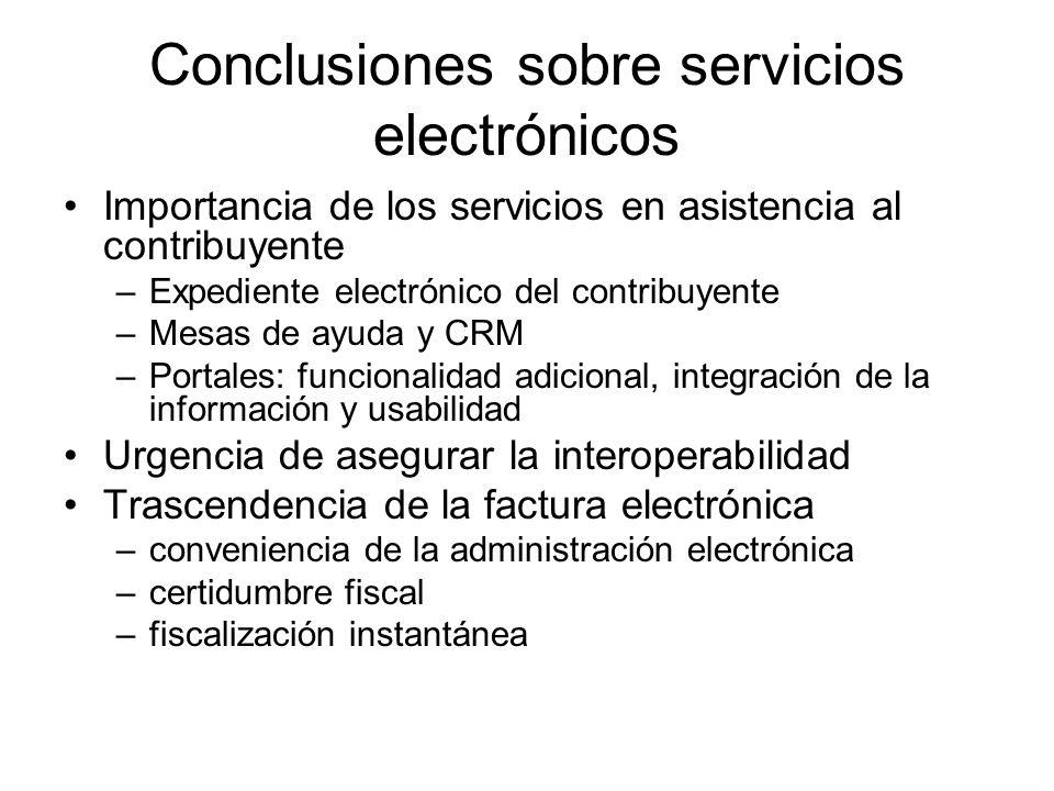 Conclusiones sobre servicios electrónicos Importancia de los servicios en asistencia al contribuyente –Expediente electrónico del contribuyente –Mesas