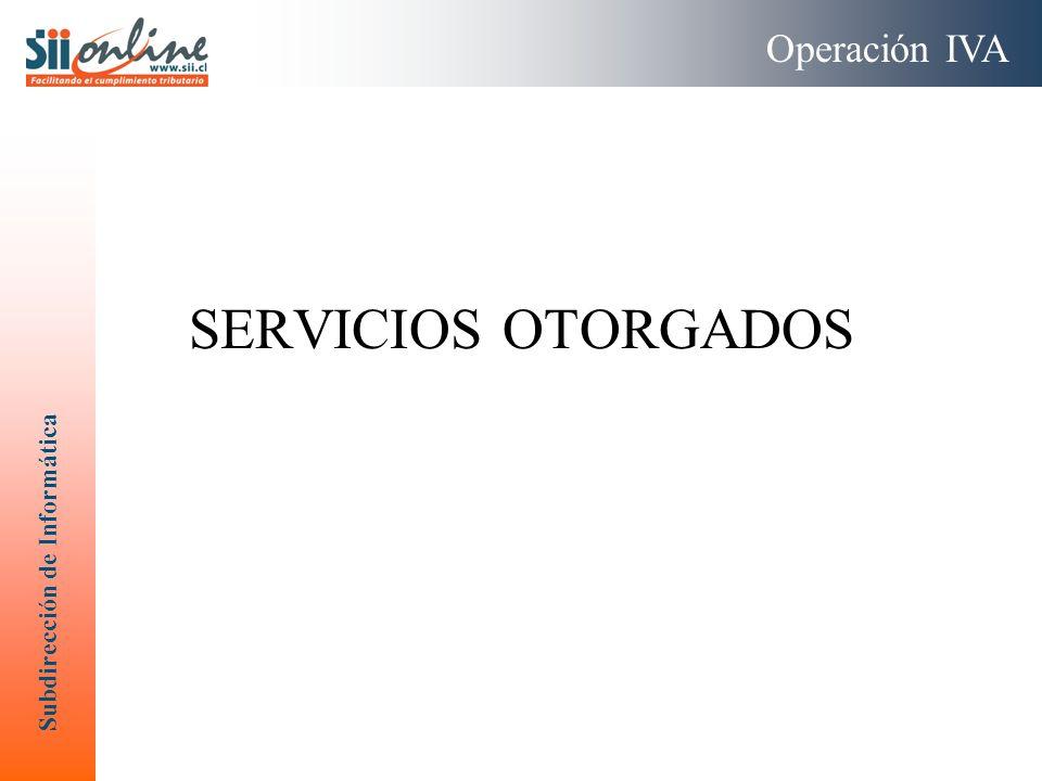 Subdirección de Informática SERVICIOS OTORGADOS Operación IVA