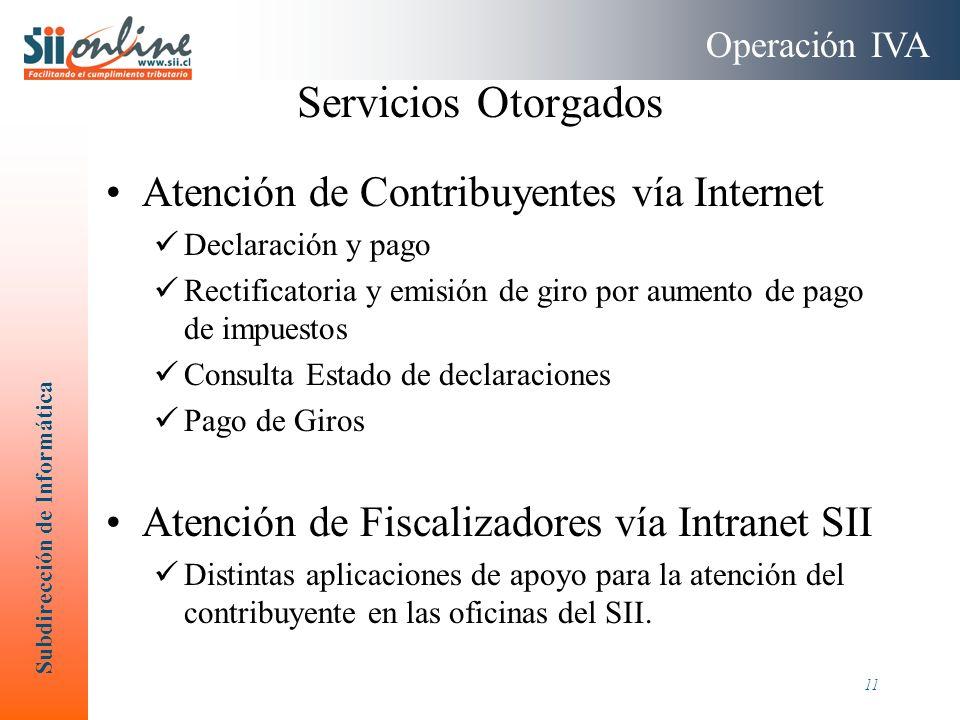 Subdirección de Informática 11 Servicios Otorgados Atención de Contribuyentes vía Internet Declaración y pago Rectificatoria y emisión de giro por aum