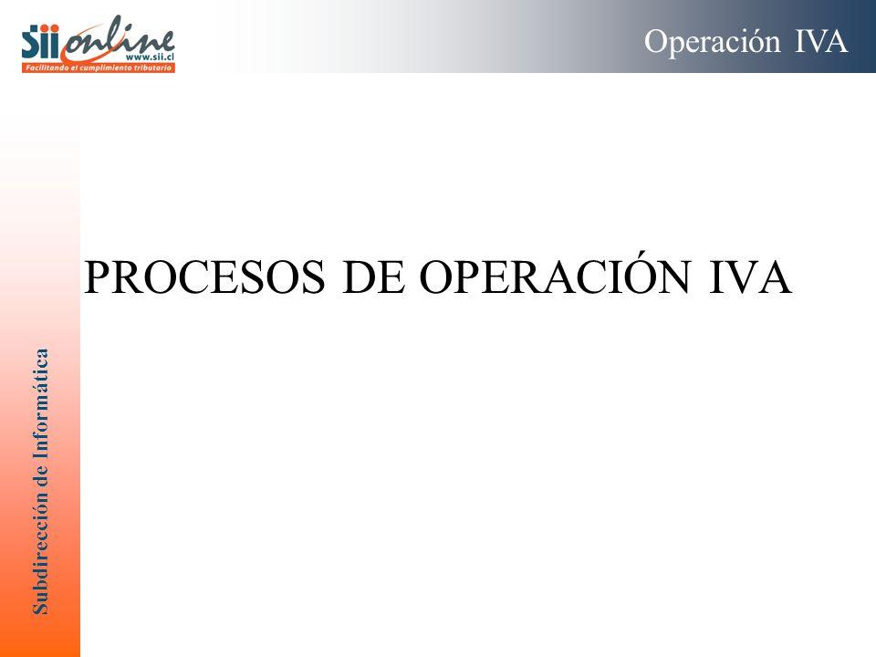 Subdirección de Informática PROCESOS DE OPERACIÓN IVA Operación IVA