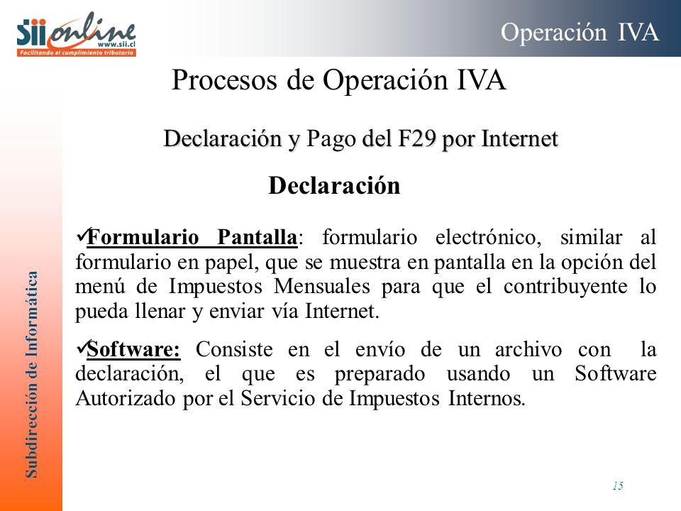 Subdirección de Informática 15 Declaración y del F29 por Internet Declaración y Pago del F29 por Internet Formulario Pantalla: formulario electrónico,