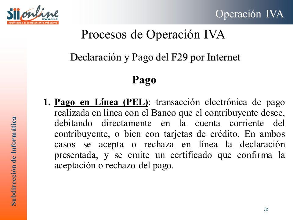 Subdirección de Informática 16 1.Pago en Línea (PEL): transacción electrónica de pago realizada en línea con el Banco que el contribuyente desee, debi