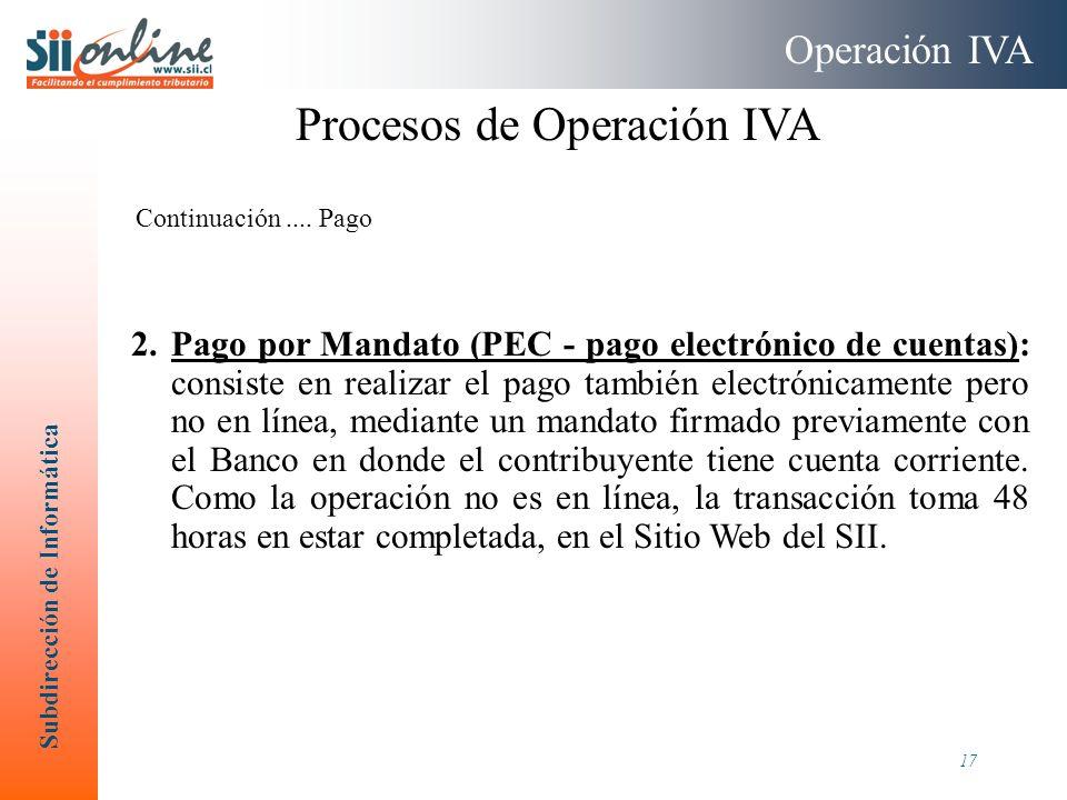 Subdirección de Informática 17 2.Pago por Mandato (PEC - pago electrónico de cuentas): consiste en realizar el pago también electrónicamente pero no e