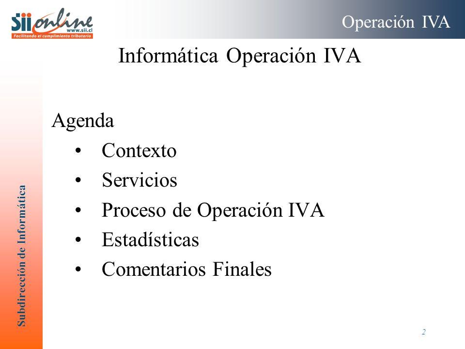 Subdirección de Informática 2 Agenda Contexto Servicios Proceso de Operación IVA Estadísticas Comentarios Finales Informática Operación IVA Operación