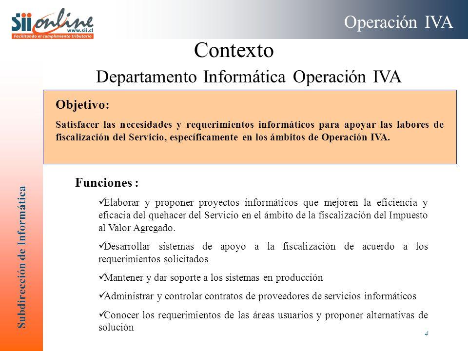 Subdirección de Informática 4 Contexto Departamento Informática Operación IVA Operación IVA Funciones : Elaborar y proponer proyectos informáticos que