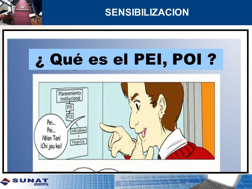 11 SENSIBILIZACION ¿ Qué es el PEI, POI ?