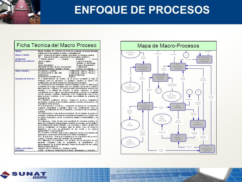 Mapa de Macro-Procesos Ficha Técnica del Macro Proceso ENFOQUE DE PROCESOS