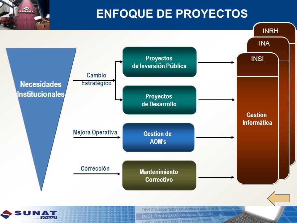 Necesidades Institucionales Proyectos de Inversi ó n P ú blica Cambio Estratégico Mejora Operativa Gestión de AOMs Corrección INA Gestión Informática