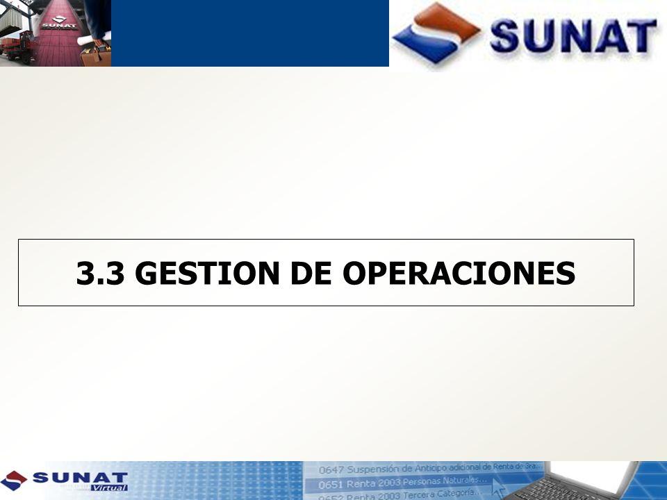 3.3 GESTION DE OPERACIONES