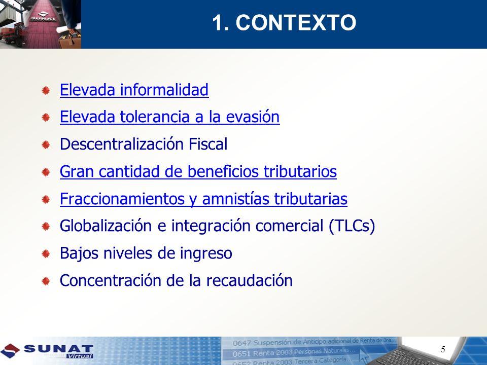 5 Elevada informalidad Elevada tolerancia a la evasión Descentralización Fiscal Gran cantidad de beneficios tributarios Fraccionamientos y amnistías t