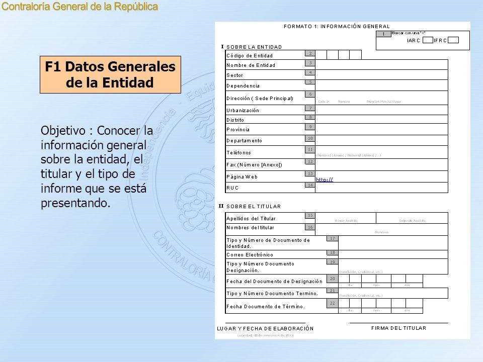 F1 Datos Generales de la Entidad Objetivo : Conocer la información general sobre la entidad, el titular y el tipo de informe que se está presentando.