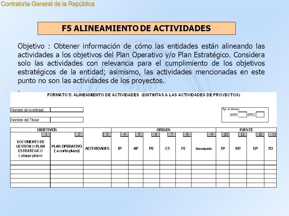 F5 ALINEAMIENTO DE ACTIVIDADES Objetivo : Obtener información de cómo las entidades están alineando las actividades a los objetivos del Plan Operativo