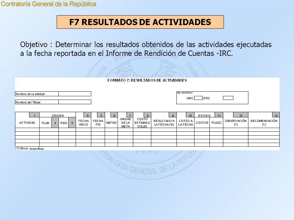 F7 RESULTADOS DE ACTIVIDADES Objetivo : Determinar los resultados obtenidos de las actividades ejecutadas a la fecha reportada en el Informe de Rendic