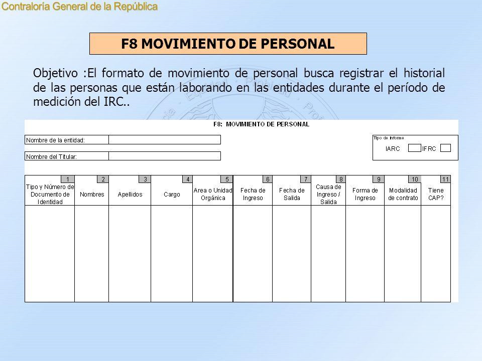 F8 MOVIMIENTO DE PERSONAL Objetivo :El formato de movimiento de personal busca registrar el historial de las personas que están laborando en las entid