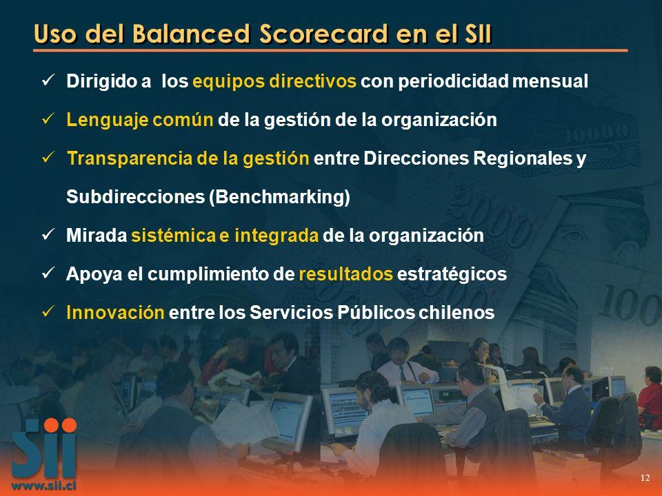 12 Uso del Balanced Scorecard en el SII Dirigido a los equipos directivos con periodicidad mensual Lenguaje común de la gestión de la organización Tra