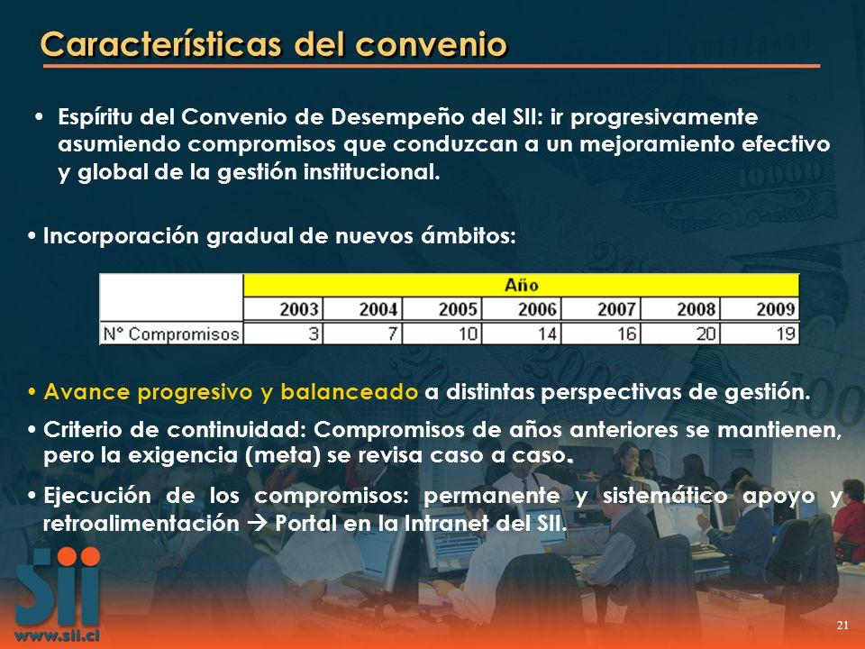 21 Características del convenio Avance progresivo y balanceado a distintas perspectivas de gestión.. Criterio de continuidad: Compromisos de años ante