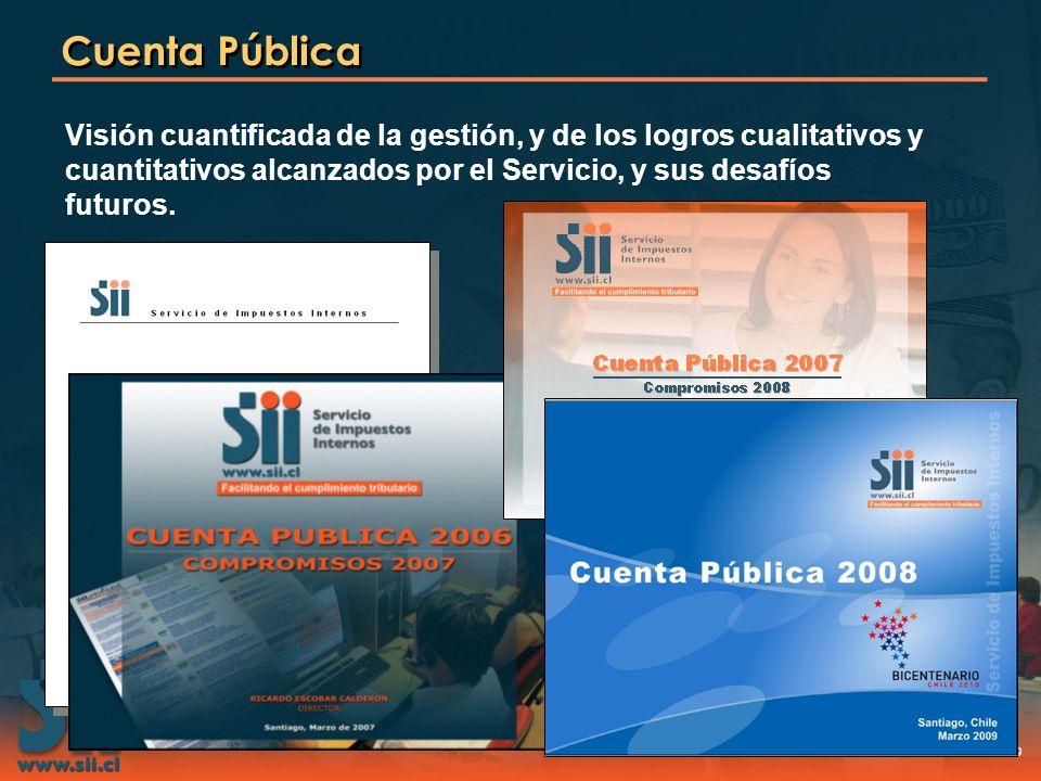 29 Cuenta Pública Visión cuantificada de la gestión, y de los logros cualitativos y cuantitativos alcanzados por el Servicio, y sus desafíos futuros.