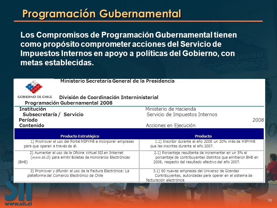 31 Programación Gubernamental Los Compromisos de Programación Gubernamental tienen como propósito comprometer acciones del Servicio de Impuestos Inter